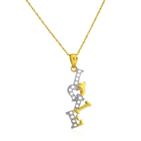 14K Yellow Gold CZ Love Necklace