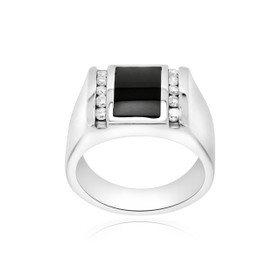 14K White Gold Onyx/Diamond Men's Ring 11002484