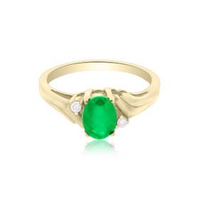 14K Yellow Gold Emerald/Diamond Ring 12000870