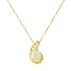 14K Yellow Gold Opal/ Diamond Pendant