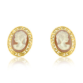 14K Yellow Gold Cameo Omega Back Earrings 42000968