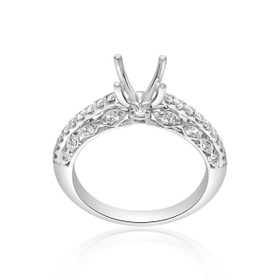 18K White Gold Fancy Diamond Engagement Ring Setting