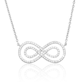 "18K White Gold 17"" Infinity Diamond Necklace"