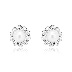14K White Gold Pearl/CZ Post Back Earrings 42002705