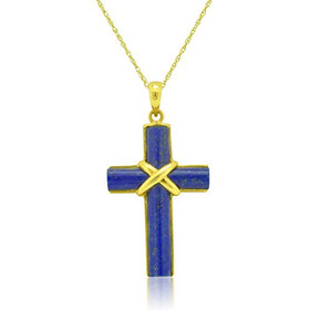 14K Yellow Gold Lapis Cross Pendant 520006993