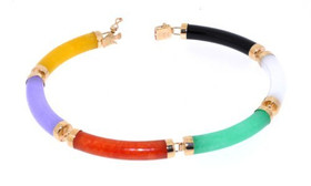 "14K Yellow Gold 7.5"" Multicolored Jade Bracelet"