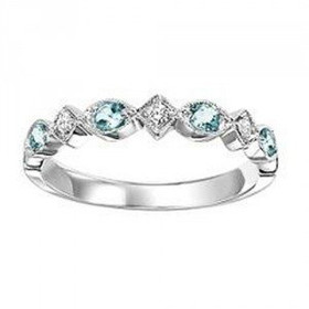 14K White Gold Aquamarine & Diamond Ring FR1272