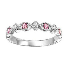 14K White Gold Pink Tourmaline & Diamond Stackable Ring fr1235