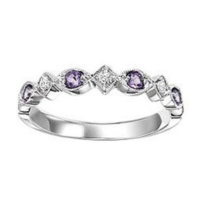 14K White Gold Synthetic Alexandrite & Diamond Stackable Ring FR1273