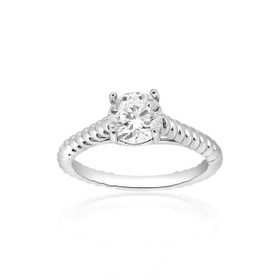 14K White Gold Rope CZ Engagement Ring