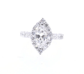 14k White Gold 1.10 Carat Marquise Diamond Engagement Ring
