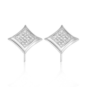 Sterling Silver Cubic Zirconia Pave Post Back Square Earrings 84210125