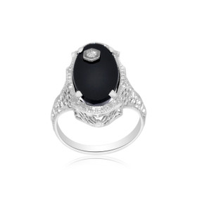 14k White Gold Diamond and Onyx Ring 12002526