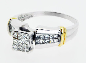14K Two Tone Gold Princess Cut Diamond Ring