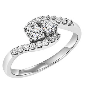 14K White Gold Twogether Diamond Ring TWO3002/150