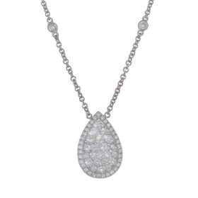 18K White Gold Pear Shaped Cluster Diamond Necklace 31000662