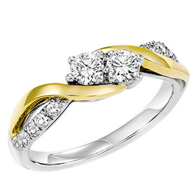 14K White and Yellow Gold Twogether Diamond Ring TWO3010/50