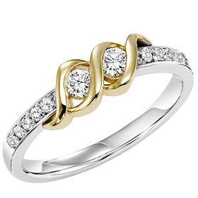 14K White and Yellow Twogether Diamond Ring TWO3016