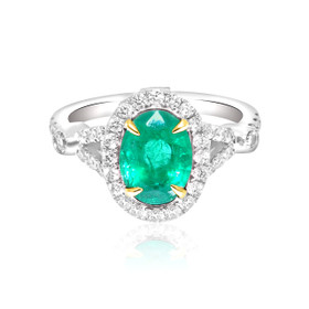14K White Gold Diamond Emerald  Ring