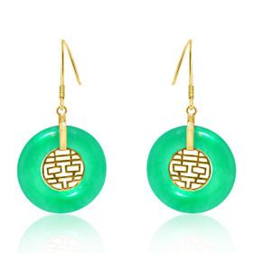 14K Yellow Gold Double Happiness Jade Hanging Earrings