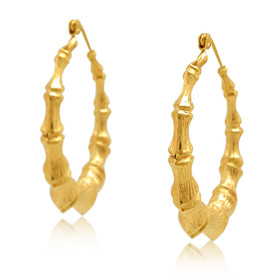 14K Yellow Gold Bamboo Hoop Earrings
