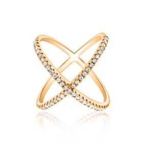 14K Pink Gold Diamond X Right Hand Ring 11005397