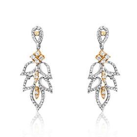 14K Two Tone Gold Diamond Leaf Earrings 41002102