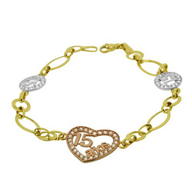 14k Tri Color Gold 15 Quince Anos Link Bracelet