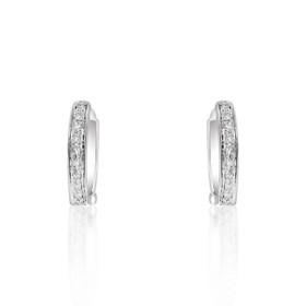 14K White Gold Diamond Huggie Earrings 41002097