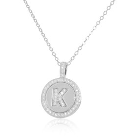 Sterling Silver K Initial Cubic Zirconia Necklace 85210497