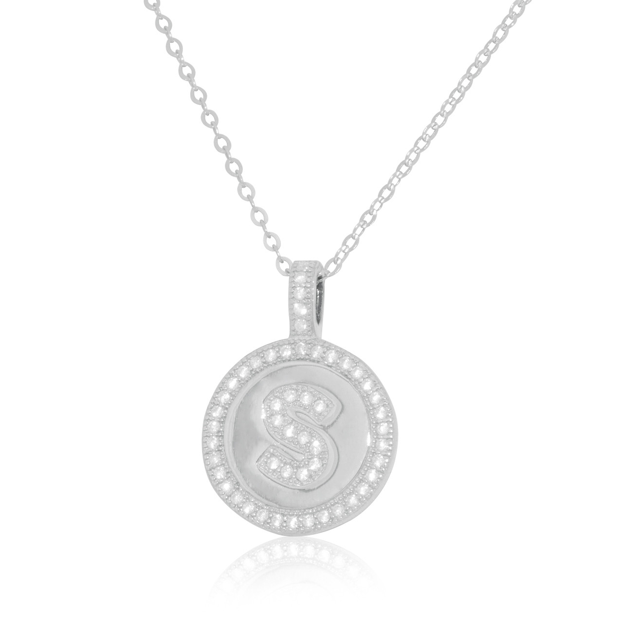 3423789f0dfd0 ... Sterling Silver Cubic Zirconia S Initial Charm Necklace 83210054. Image  1