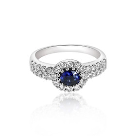 18K White Gold Diamond and Sapphire Ring 12000320
