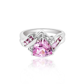 10K White Gold Pink CZ Ring 19210042