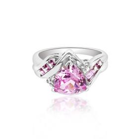 10K White Gold Pink CZ Ring 19210042