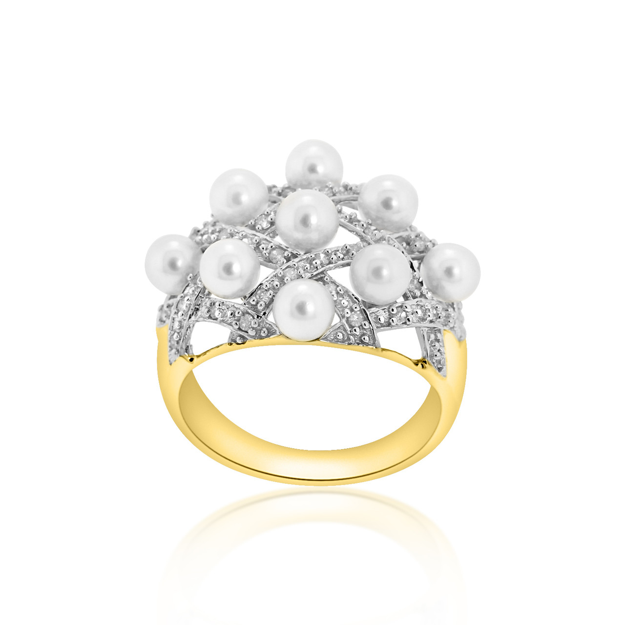 4f85c28201a40b 14K Yellow Gold Diamond Pearl Ring:Best Price From Shin Brothers