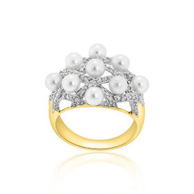 14K Yellow Gold Diamond Pearl Ring 12002568