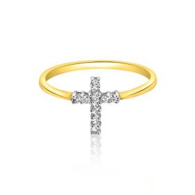 14k Yellow Gold Cross Diamond Ring 11002109