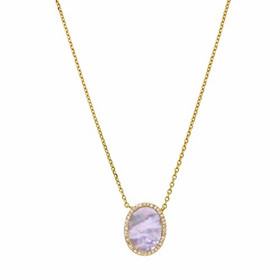 """14K Pink Gold Diamond and Mabe Pearl 16"""" Cable Necklace"""