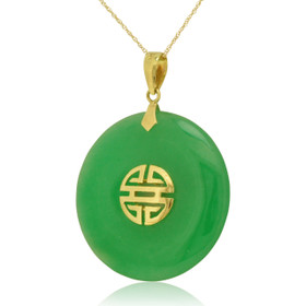 14K Yellow Gold Natural Jade Dyed Charm 52000906