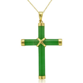 14K Yellow Gold Jade Cross Charm 52001360