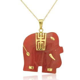 14K Yellow Gold Red Jade Elephant Pendant 52001336