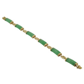 14K Yellow Gold Green  Jade 7-inch Bracelet