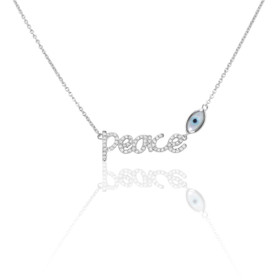 14K White Gold Diamond Peace and Evil Eye Necklace 31000659