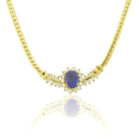 14k Yellow Gold Tanzanite and Diamond Chain 22000693