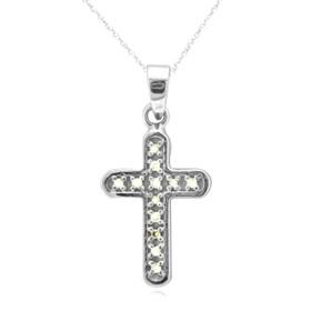 14K White Gold White And Color Enhanced Black Diamond Cross Charm 51001772