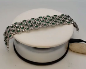 Sterling Silver Cubic Zirconia and Emerald Bracelet