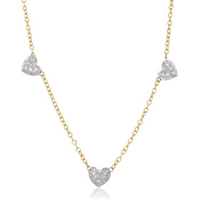 14K Two Toned Gold Diamond Heart Necklace