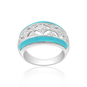 14K White Gold Diamond Turquoise Ring 12001129