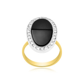 14K Two Tone Gold Onyx Diamond Ring 12000843