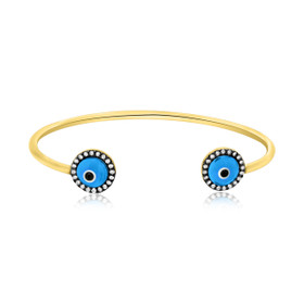 Gold Plated Silver Blue Evil Eye Adjustable Bangle 82010514